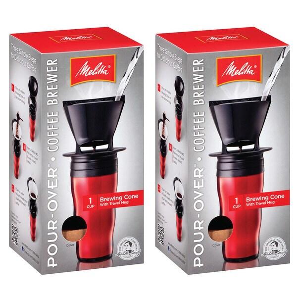 Melitta '64014' Ready Set Joe Red Pour-over Coffee Brewer Travel Mug 12405855