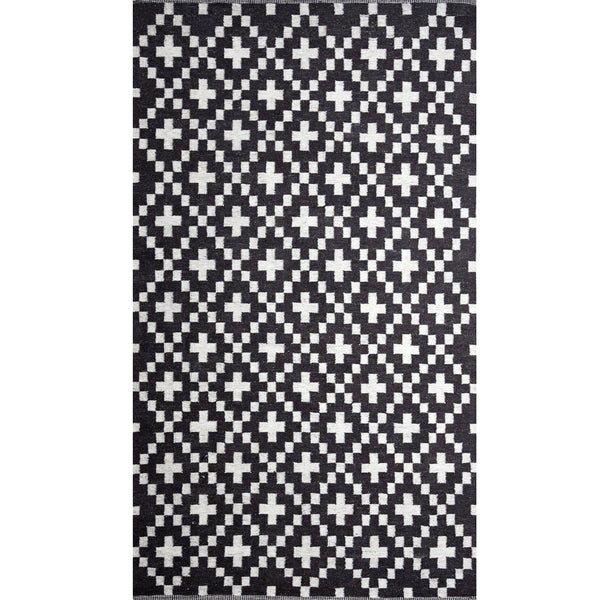 Handwoven cross black and white wool rug india for Black and white wool rug