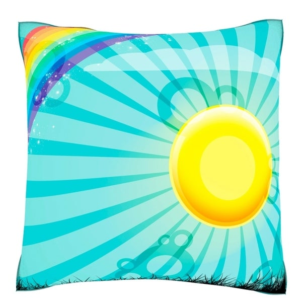 Rainbow and Sun Over Country Field Velour Throw Pillow