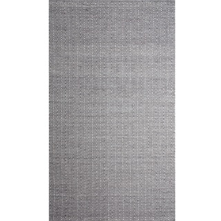 Handwoven Angus Charcoal/ Natural Wool Rug (India)