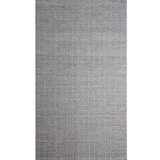 Handwoven Angus Black and White Wool Rug (India)