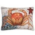 French Coastal Crab Feather Fill Throw Pillow