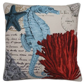 French Coastal Sea Horse Feather Fill Throw Pillow