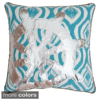 Ikat Wheel Applique Down Filled Throw Pillow