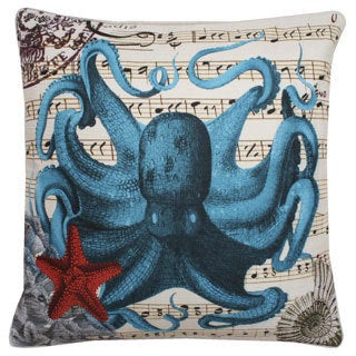 French Coastal Octopus Feather Fill Throw Pillow