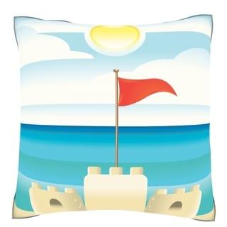 Sandcastle on Beach Velour Throw Pillow