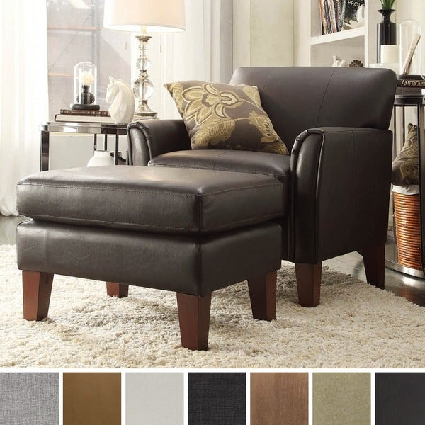 INSPIRE Q Uptown Modern Accent Chair And Ottoman Overstock Shopping Grea