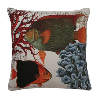 French Coastal Fish Down Fill Throw Pillow