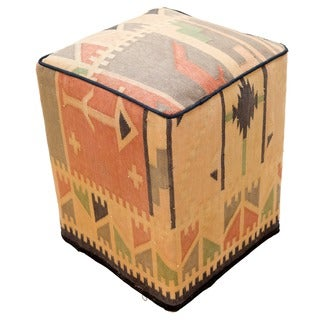 Decorative Kilim Beige/Black/Green Wool Ottoman
