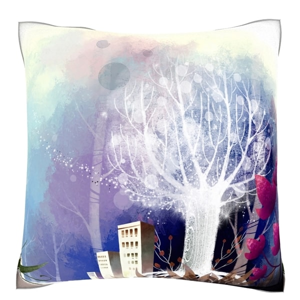 Building Exterior in Winter Velour Throw Pillow