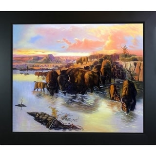 Charles Marion Russell The Buffalo Herd Hand Painted Framed Canvas Art