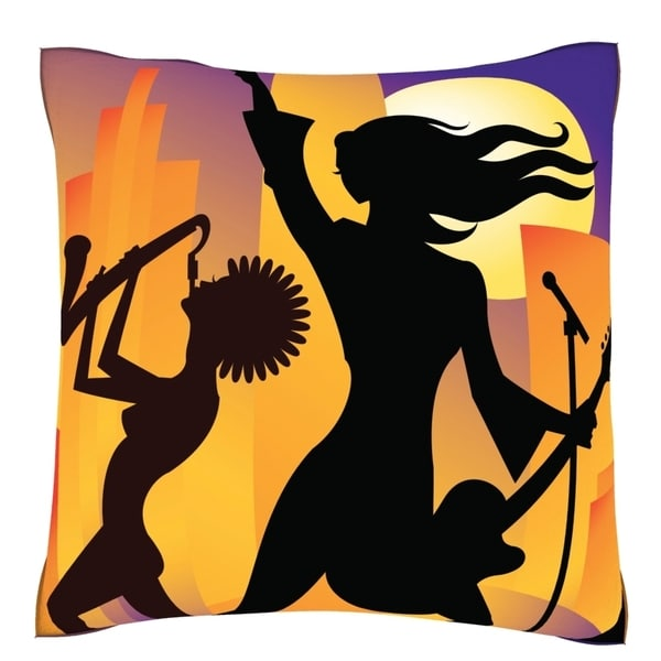 Open Air Concert Polyester Velour Throw Pillow
