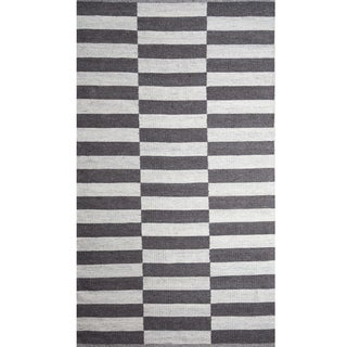 Handwoven Broken Stripe Charcoal and Natural Wool Rug (India)