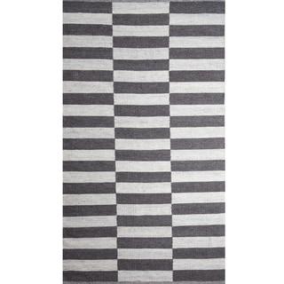 Handwoven Broken Stripe Black and White Wool Rug (India)