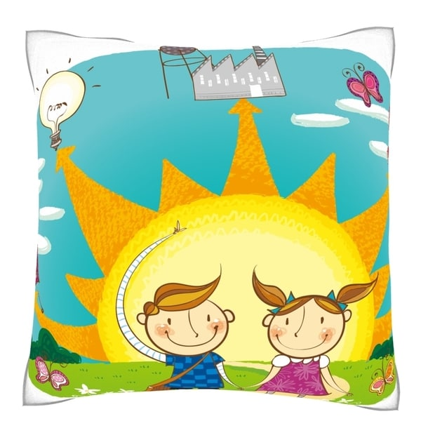 Boy and Girl Showing the Use of Solar Energy Velour Throw Pillow