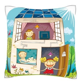 Children in House Velour Throw Pillow