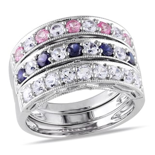 Miadora Sterling Silver Created Sapphire Stackable Rings (Set of 3)