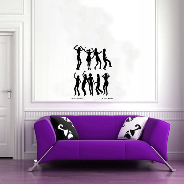 Disco Dancing Girls Glossy Black Vinyl Sticker Wall Decal