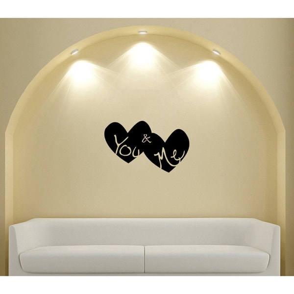 You & Me Double Hearts Vinyl Sticker Wall Decal