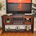 Whitaker Furniture 'Williamsburg' 58-inch Rustic Mahogany Entertainment Cart