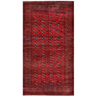 Herat Oriental Afghan Hand-knotted Tribal Balouchi Red/ Ivory Wool Rug (4'7 x 8'9)