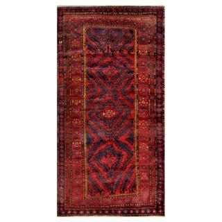 Afghan Hand-knotted Tribal Balouchi Red/ Navy Wool Rug (4'2 x 8'1)