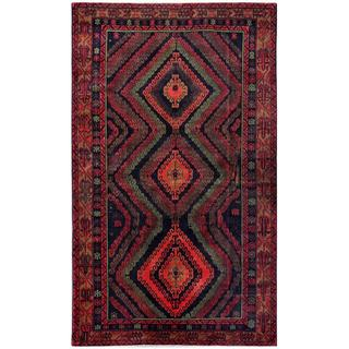 Afghan Hand-knotted Tribal Balouchi Navy/ Red Wool Rug (6'2 x 10'3)