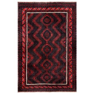 Afghan Hand-knotted Tribal Balouchi Red/ Grey Wool Rug (5'7 x 8'3)