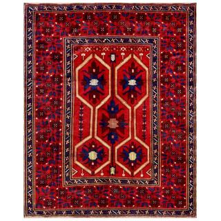 Afghan Hand-knotted Tribal Balouchi Red/ Blue Wool Rug (6'7 x 8'2)