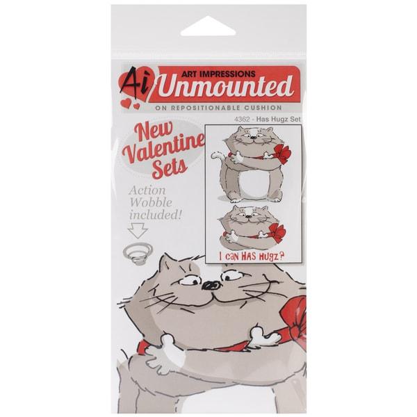 "Art Impressions Valentine's Cling Rubber Stamp Set 7""X4""-Has Hugz"