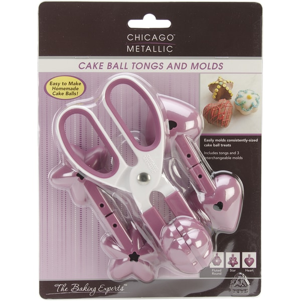 Cake Ball Tongs & Molds-Heart, Star And Fluted Round