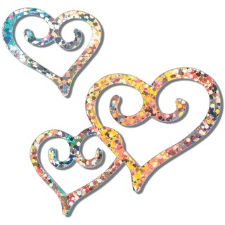 "Holographic Cutout Confetti 4"" & 2"" 48/Pkg-Silver Double Heart"