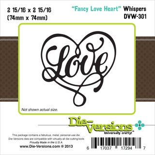 "Die-Versions Whispers Die-Fancy Love Heart, 2.937""X2.937"""