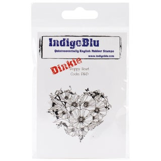 "IndigoBlu Cling Mounted Stamp 3""X3""-Poppy Heart-Dinkie"