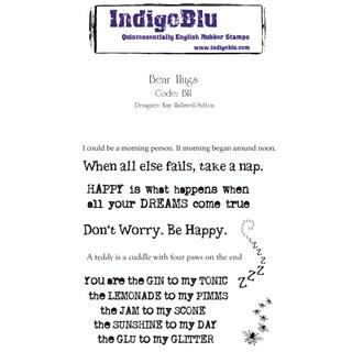 """IndigoBlu Cling Mounted Stamp 5""""X4""""-Bear Hugs"""