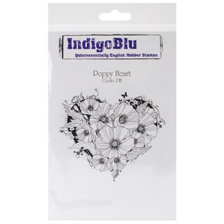 "IndigoBlu Cling Mounted Stamp 5""X4""-Poppy Heart"