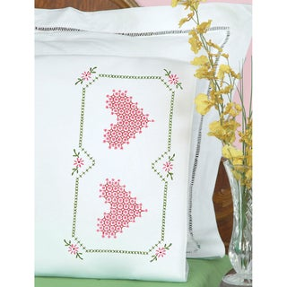 Stamped Pillowcases with White Perle Edge 2/Pkg-Chicken Scratch Hearts