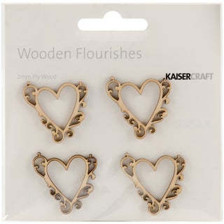 Wood Flourishes-Flourish Hearts 4/Pkg