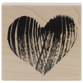 "Penny Black Mounted Rubber Stamp 2.75""X2.75""-Brush Heart"