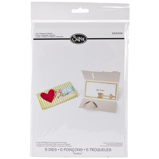 Sizzix Thinlits Dies 5/Pkg-Card/Folding Closure, Hearts & Arrows