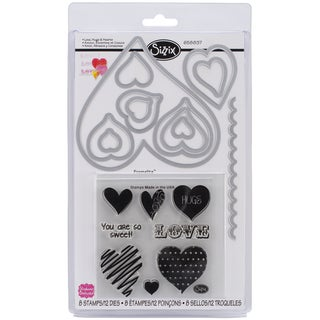 Sizzix Framelits Dies 12/Pkg W/Clear Stamps-Love, Hugs & Hearts