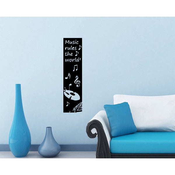 Music Rules the World Black Vinyl Sticker Wall Decal