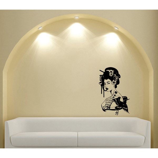 Japanese Geisha Girl with Flowers Black Vinyl Sticker Wall Decal