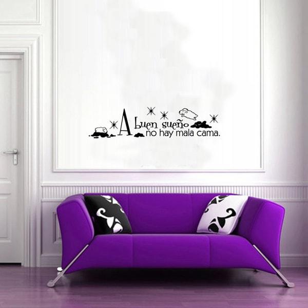A Buen Sueno No Hay Mala Cama Quote Black Vinyl Sticker Wall Decal