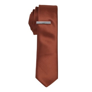 Skinny Tie Madness Mens Solid Rust Skinny Tie with Tie Clip