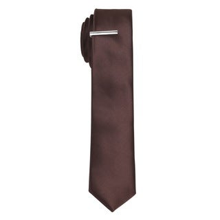 Skinny Tie Madness Mens Solid Brown Skinny Tie with Tie Clip