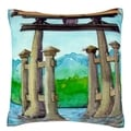 Pagoda in River 18-inch Square Velour Throw Pillow