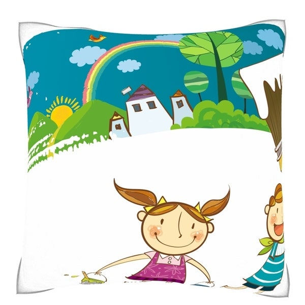 Children Painting the Town Throw Pillow