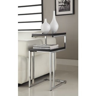 Black Finish Chrome Chair Side End Snack Table