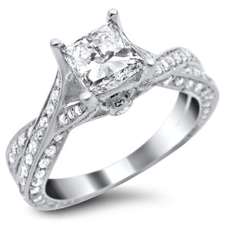 14k White Gold 1.82ct TDW Certified Princess Cut Pave Diamond Ring
